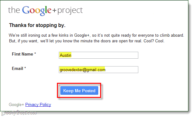 Sign up for a Google Plus account