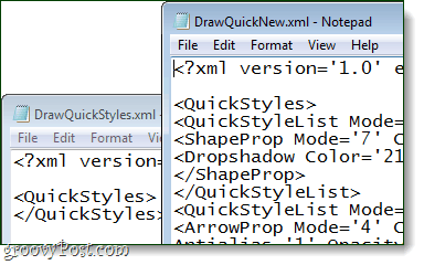 open up both the old and new xml files in notepad