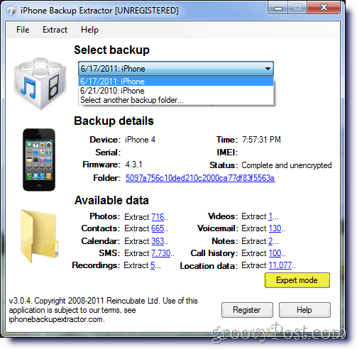 iPhone Backup Extractor Select Backup