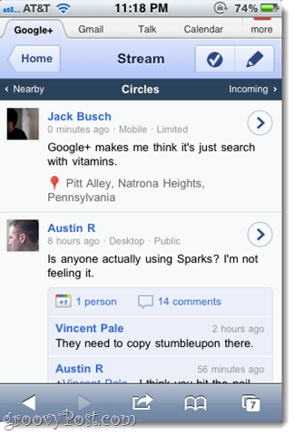 google plus stream on iphone