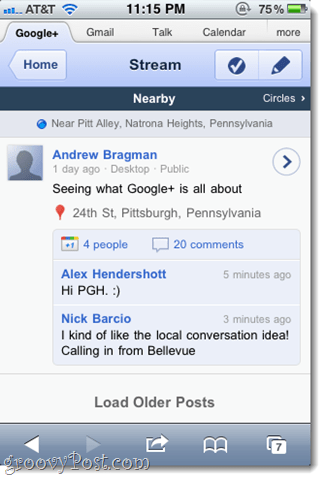 google plus nearby google+ posts