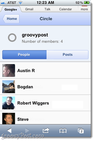 google plus circles view