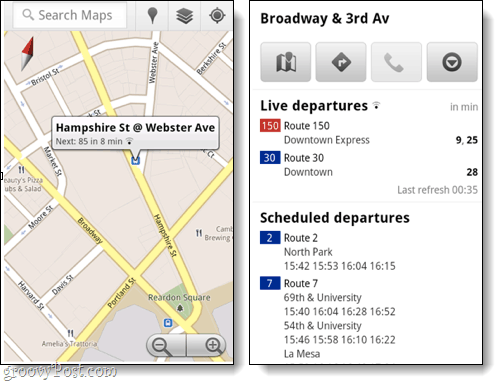 mobile transit for google maps