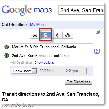 transit directions in Google Maps
