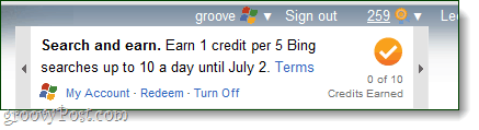 earn points for searching with Bing