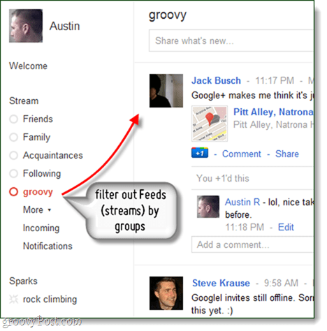 Google plus stream filtered by circles