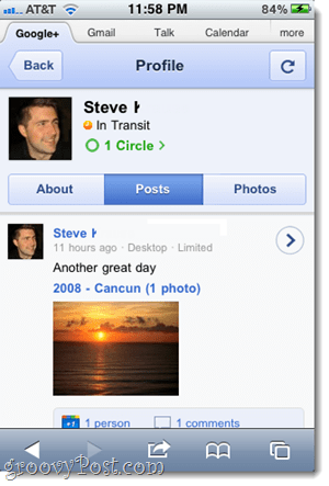 google plus chat status on iphone