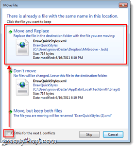 overwrite existing xml files