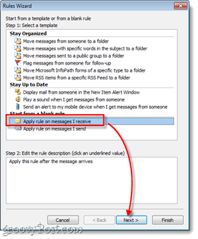outlook apply rule on messages i receive