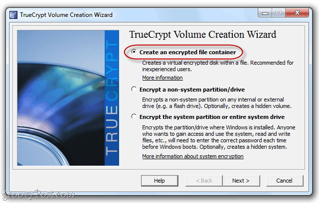 create a volume in truecrypt