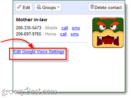 edit the contacts google voice settings