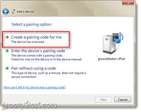 create a bluetooth pairing code for me