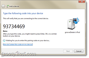 a bluetooth pairing code in windows 7
