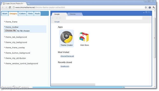 Google Chrome Theme Creator wep application