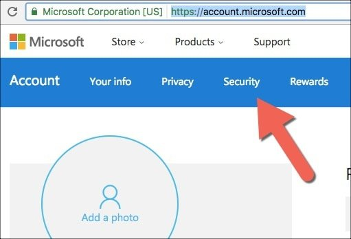 how to put security in your hotmail acount