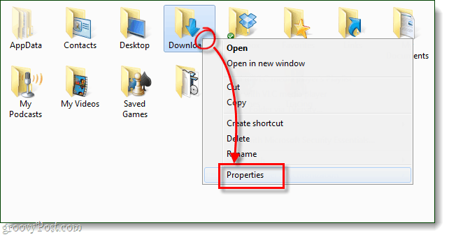 windows folder properties for downloads