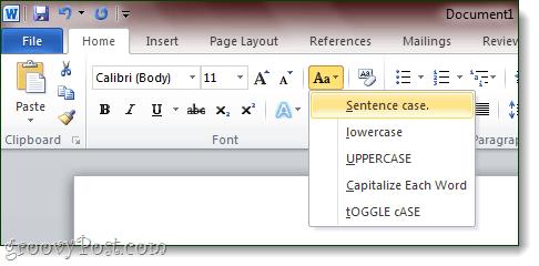 word 2010 - sentence case