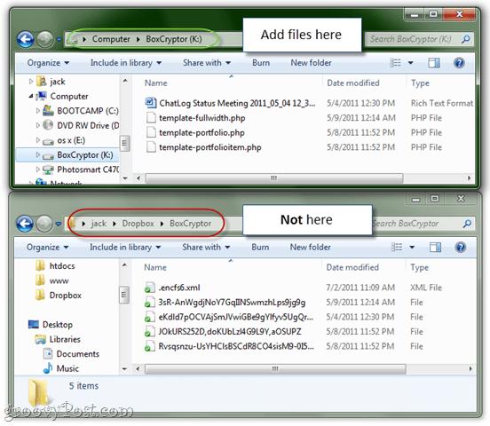 adding boxcryptor encrypted files to dropbox