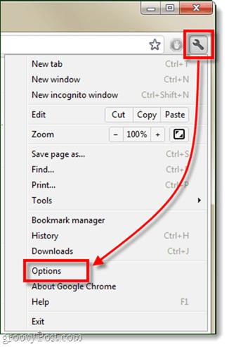 Chrome options menu