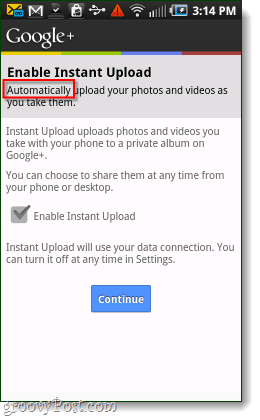 google+  android enable instant upload