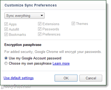 chrome sync preferences