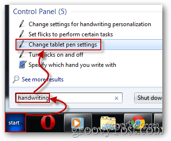 Launch Change tablet pen settings