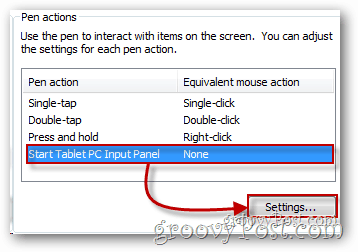 Tablet PC input panel settings