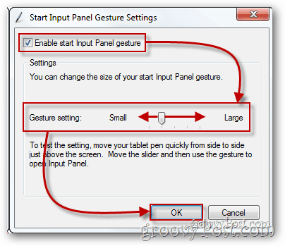 enable start input panel gesture