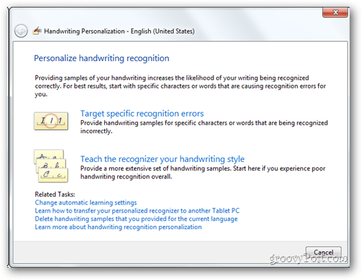 Personalize handwirting recognition settings