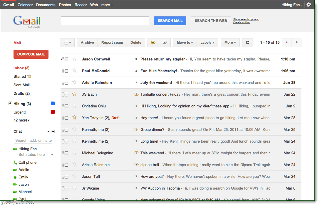 Gmail inbox view, preview theme