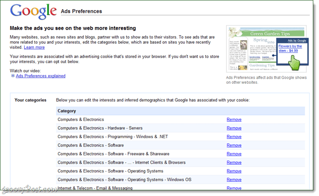 Google ad preferences tracking cookies