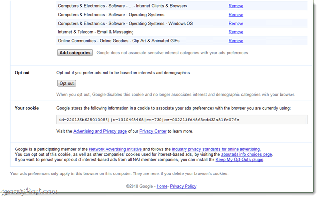 Google opt out and cookies of ad tracking