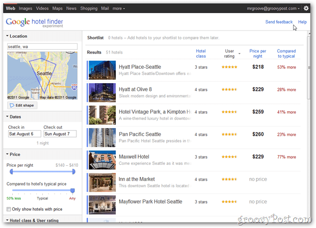 google hotel finder seattle