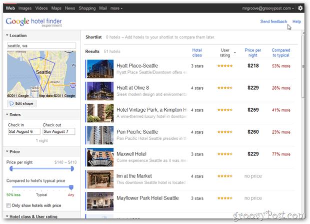 google hotel finder seattle