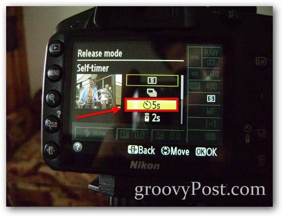 self timer default 5 seconds timer nikon set setup photo