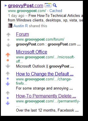downvote sitelinks google
