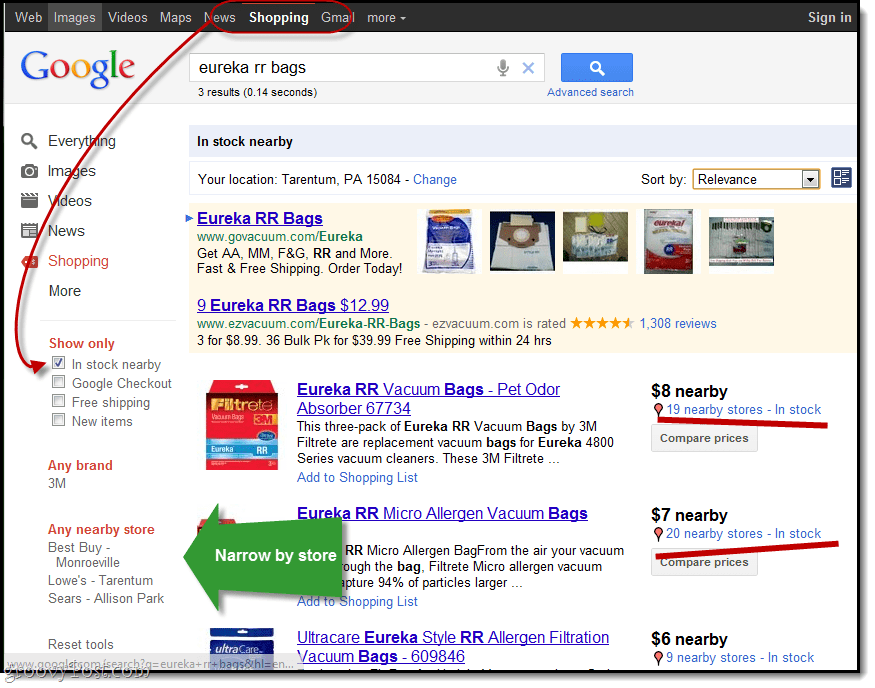 Google Shopping Tip: Find In Stock Items in Nearby Stores