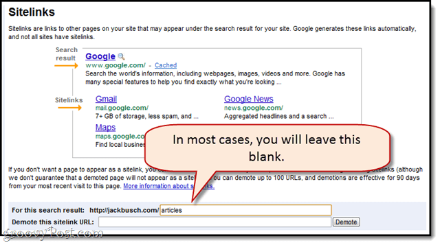 demoting sitelinks in google webmaster tools