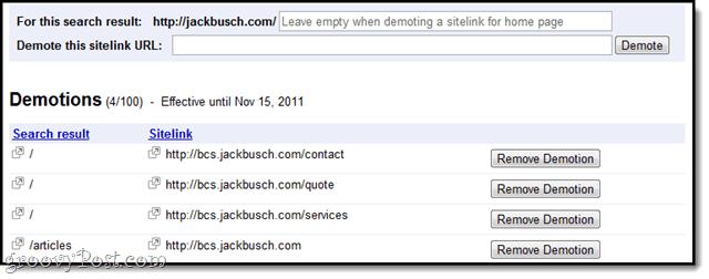 sitelink demoting - how to remove sitelinks