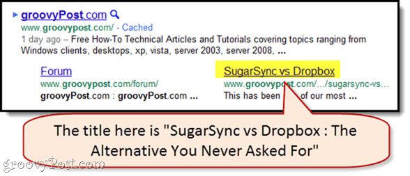 sitelink title in google snippet