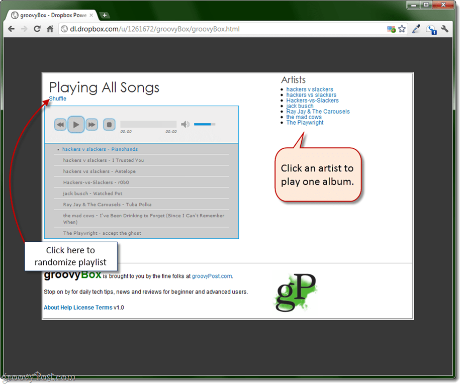 groovyBox: Cloud-based Portable Streaming Music Player for