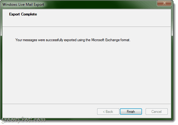 Export to Outlook from Windows Live Mail complete!