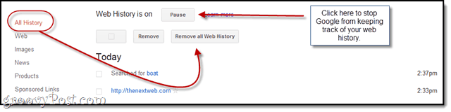 Disable Google Web History
