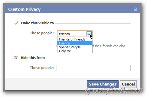 Custom Privacy Sharing for Facebook Updates and Photos