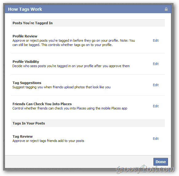 Facebook Privacy Settings Tags