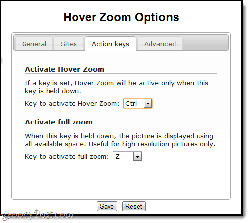 HoveR Zoom ACtion Keys