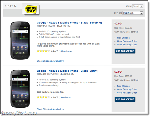 best buy free nexus s