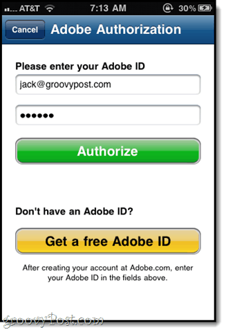 authorize with your adobe id