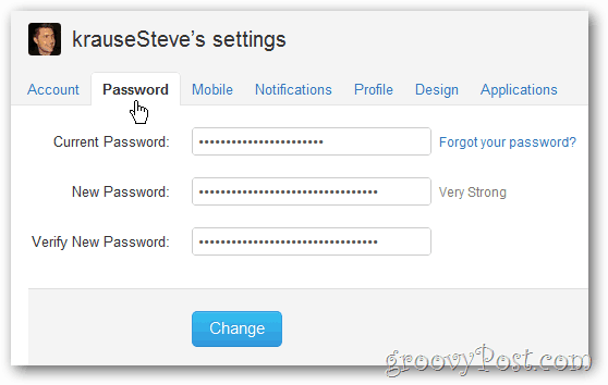 twitter password menu