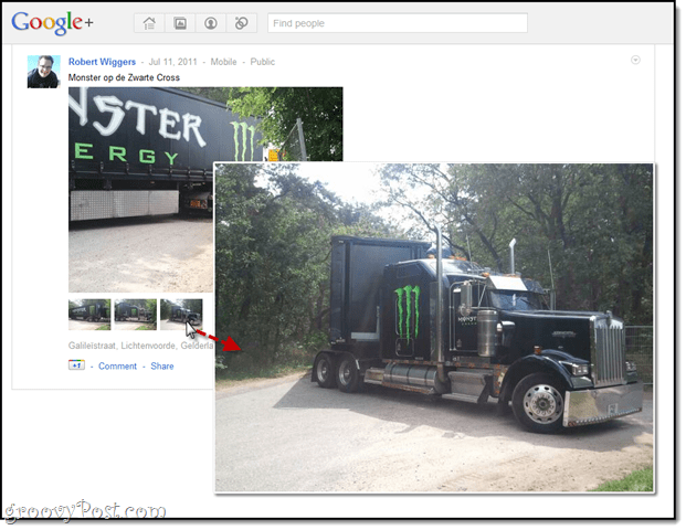 Hover Zoom on Google+